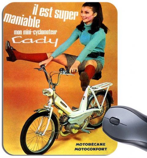 Vintage Motobecane Cady Advert Poster Mouse Mat. Classic Moped Bike Mouse Pad